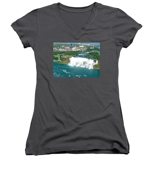 Women's V-Neck T-Shirt featuring the photograph Niagara American And Bridal Veil Falls  by Charles Kraus