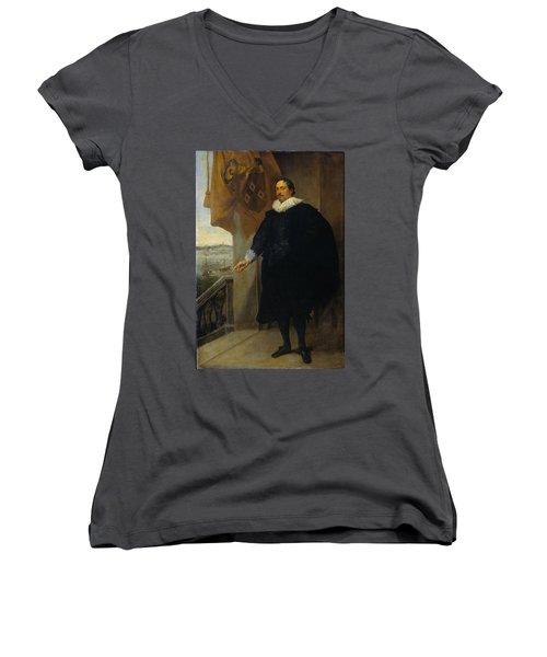 Nicolaes Van Der Borght, Merchant Of Antwerp Women's V-Neck