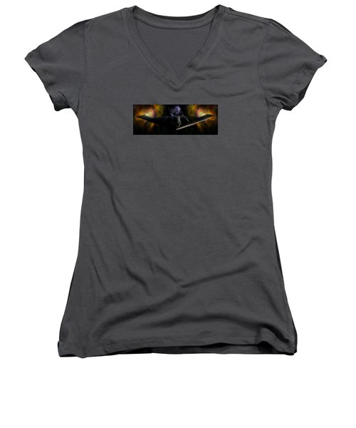 Women's V-Neck T-Shirt (Junior Cut) featuring the photograph Nigfhtstalker by Mario Carini