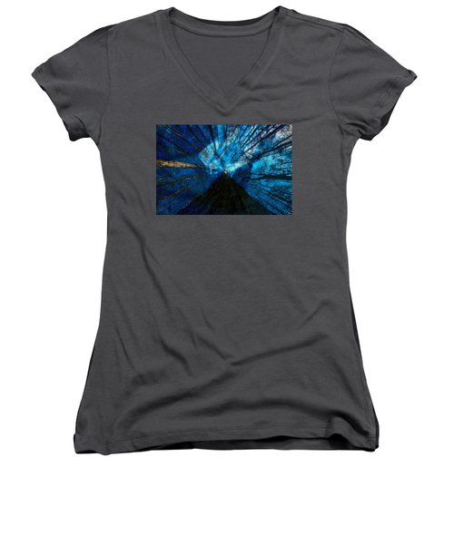 Women's V-Neck T-Shirt (Junior Cut) featuring the painting Night Angel by David Lee Thompson