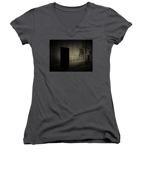Night Barn Women's V-Neck T-Shirt (Junior Cut) by Cynthia Lassiter