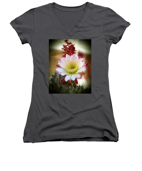Women's V-Neck T-Shirt (Junior Cut) featuring the photograph Night-blooming Cereus 2 by Marilyn Smith