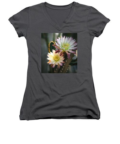 Women's V-Neck T-Shirt (Junior Cut) featuring the photograph Night-blooming Cereus 3 by Marilyn Smith
