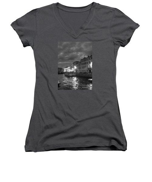 Night City Peterburg Women's V-Neck T-Shirt (Junior Cut) by Yury Bashkin