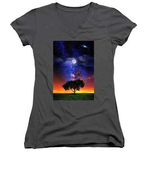 Women's V-Neck T-Shirt (Junior Cut) featuring the photograph Night Colors by Justin Kelefas