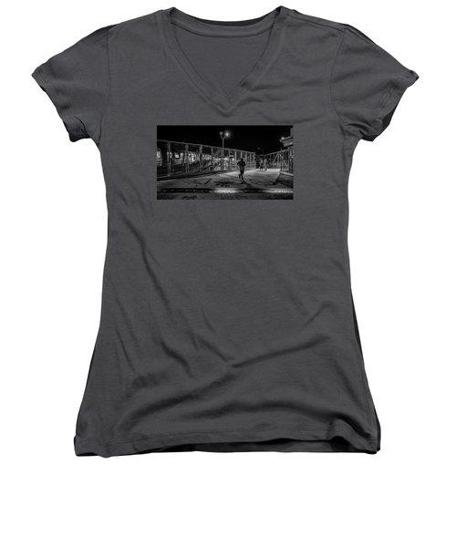 Night Commute  Women's V-Neck T-Shirt (Junior Cut) by Jeffrey Friedkin