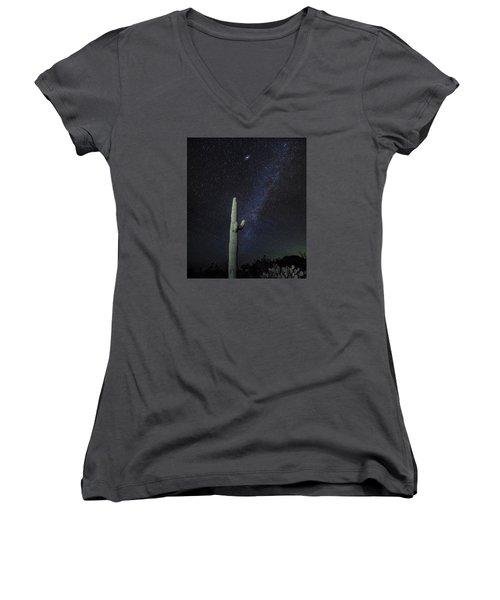 Night Desert Skies Women's V-Neck T-Shirt (Junior Cut) by Charles Warren