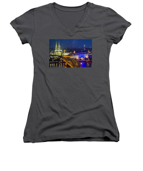 Night Falls Upon Cologne 2 Women's V-Neck
