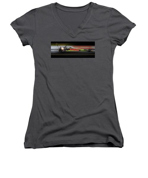 Women's V-Neck T-Shirt (Junior Cut) featuring the digital art Night Flight by Peter Chilelli