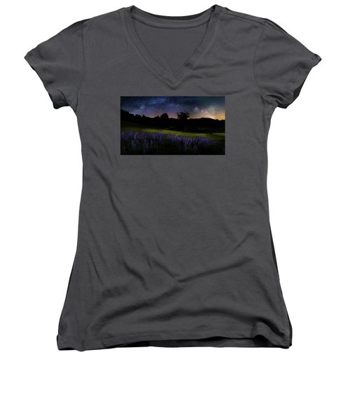 Women's V-Neck T-Shirt (Junior Cut) featuring the photograph Night Flowers by Bill Wakeley