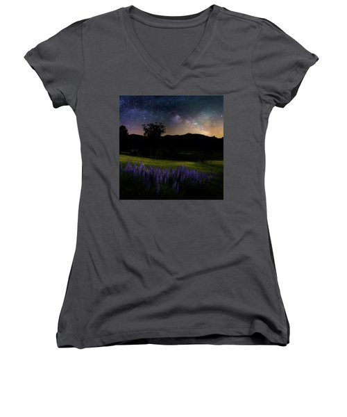 Women's V-Neck T-Shirt (Junior Cut) featuring the photograph Night Flowers Square by Bill Wakeley