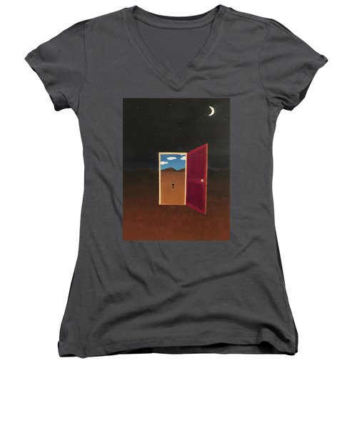 Night Into Day Women's V-Neck T-Shirt (Junior Cut) by Thomas Blood