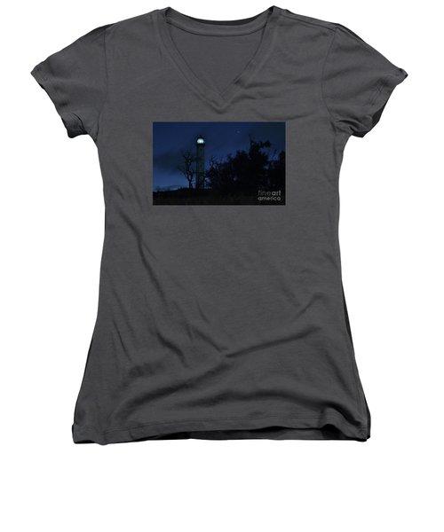 Women's V-Neck T-Shirt (Junior Cut) featuring the photograph Night Light Kalaupapa by Craig Wood