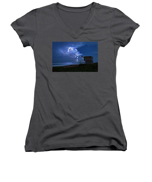 Night Lightning Under Full Moon Over Hobe Sound Beach, Florida Women's V-Neck