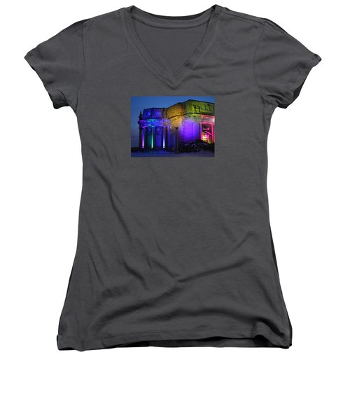 Night Lights Niagara Women's V-Neck T-Shirt
