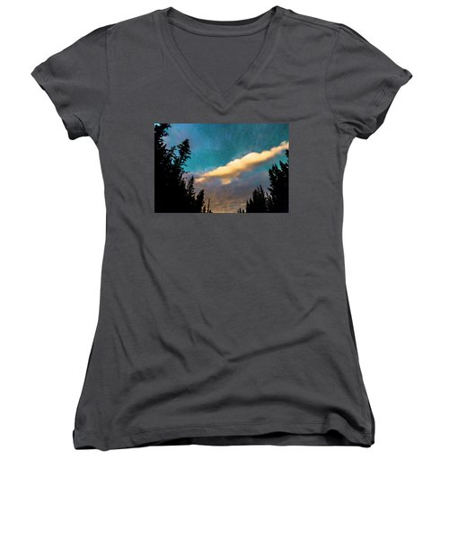 Women's V-Neck T-Shirt (Junior Cut) featuring the photograph Night Moves by James BO Insogna