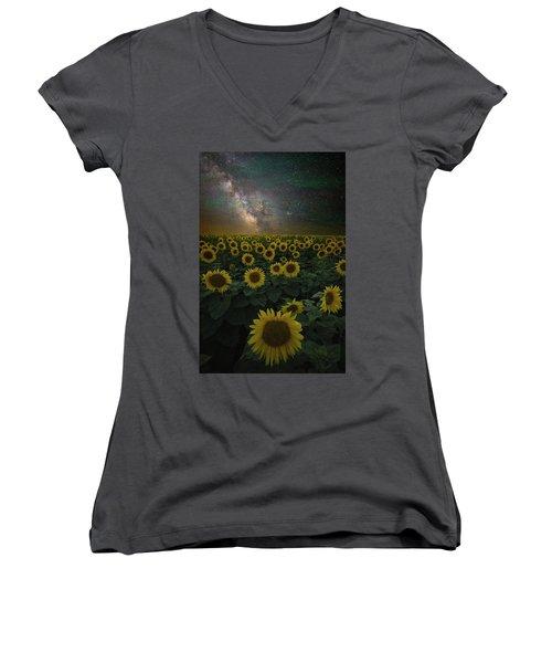 Women's V-Neck T-Shirt featuring the photograph Night Of A Billion Suns by Aaron J Groen