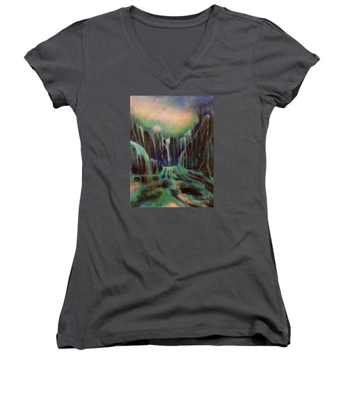 Night Of The Fall  Women's V-Neck T-Shirt (Junior Cut) by Alison Caltrider