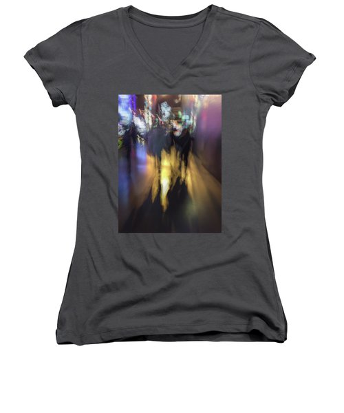 Women's V-Neck featuring the photograph Night On The Town by Alex Lapidus