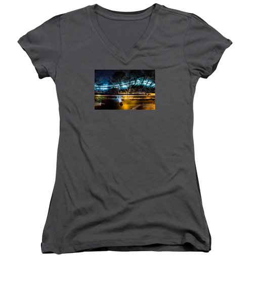 Women's V-Neck T-Shirt (Junior Cut) featuring the photograph Central Park by M G Whittingham