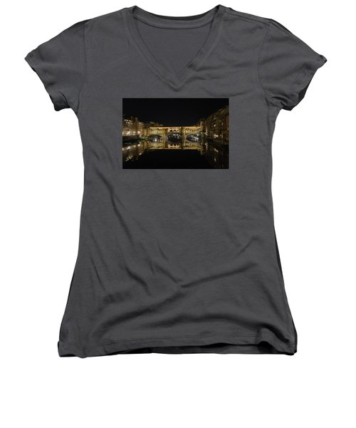 Night Reflections Of The Ponte Vecchio Women's V-Neck (Athletic Fit)