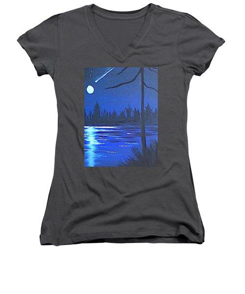Night Scene Women's V-Neck T-Shirt (Junior Cut) by Brenda Bonfield