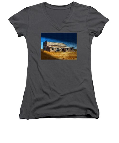 Women's V-Neck T-Shirt (Junior Cut) featuring the photograph Night Shift by Susan Kinney