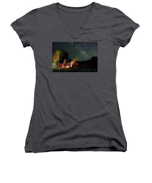 Night Sky Fire Women's V-Neck T-Shirt (Junior Cut) by Matt Helm