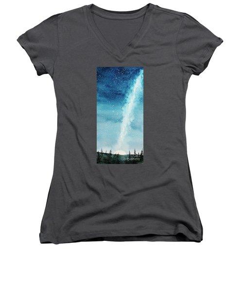 Night Sky Women's V-Neck T-Shirt (Junior Cut) by Rebecca Davis