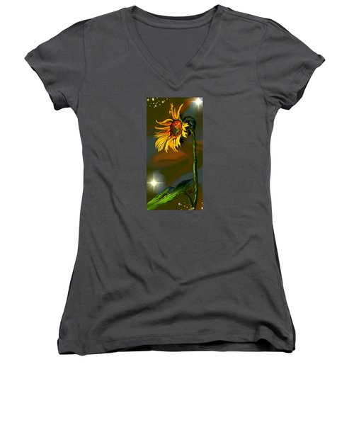Women's V-Neck T-Shirt featuring the digital art Night Sunflower by Darren Cannell