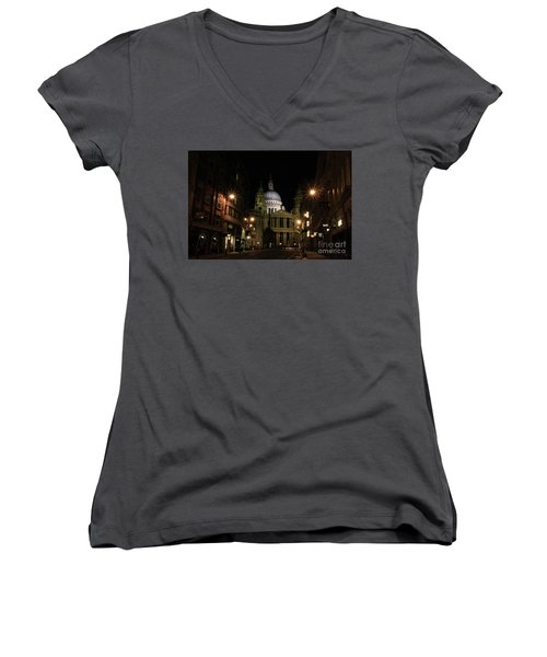 Night View Of St Pauls Cathedral  Women's V-Neck T-Shirt