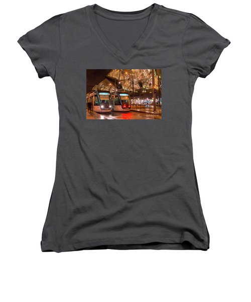 Night View Of Two Trams At Glories Station  Women's V-Neck T-Shirt