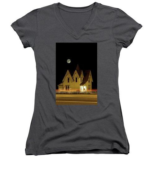 Night View Women's V-Neck T-Shirt (Junior Cut) by Tony Locke
