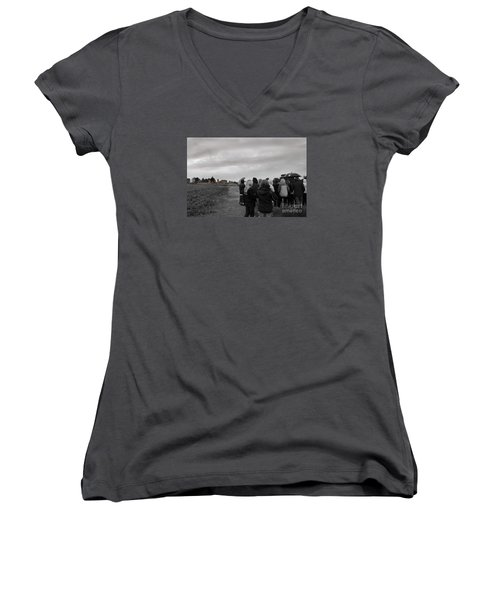 Women's V-Neck T-Shirt (Junior Cut) featuring the photograph Night Vision Ghost Story In Bradgate Park. by Linsey Williams