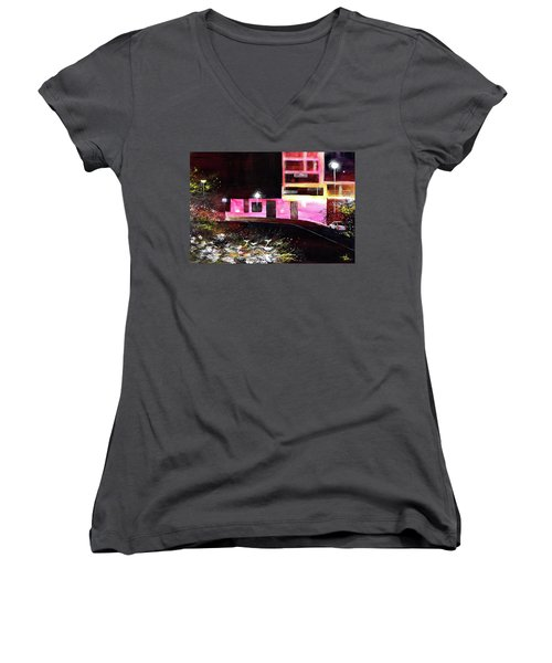 Women's V-Neck T-Shirt (Junior Cut) featuring the painting Night Walk by Anil Nene