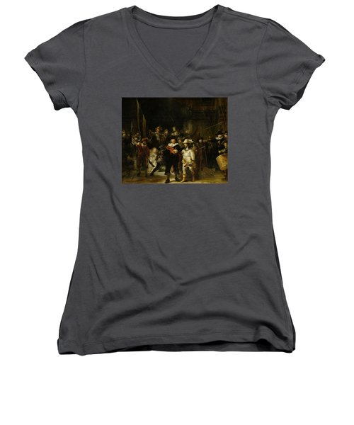 Night Watch, 1642 Women's V-Neck (Athletic Fit)