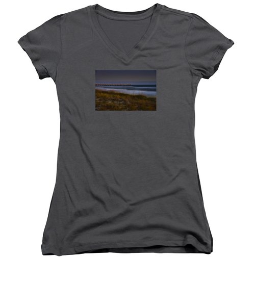 Women's V-Neck T-Shirt (Junior Cut) featuring the photograph Nightlife By The Sea by Renee Hardison