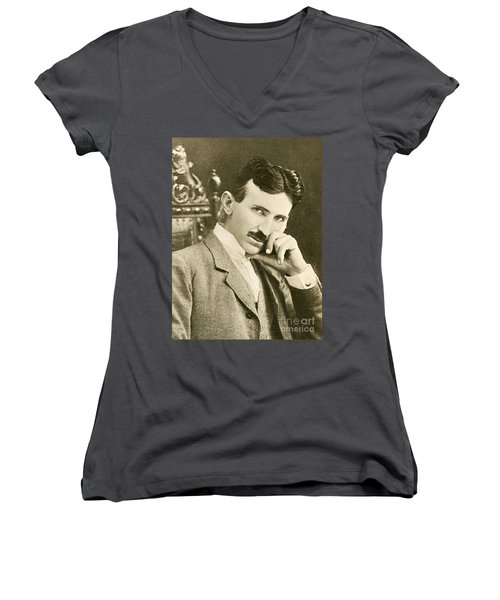 Nikola Tesla, Serbian-american Inventor Women's V-Neck (Athletic Fit)
