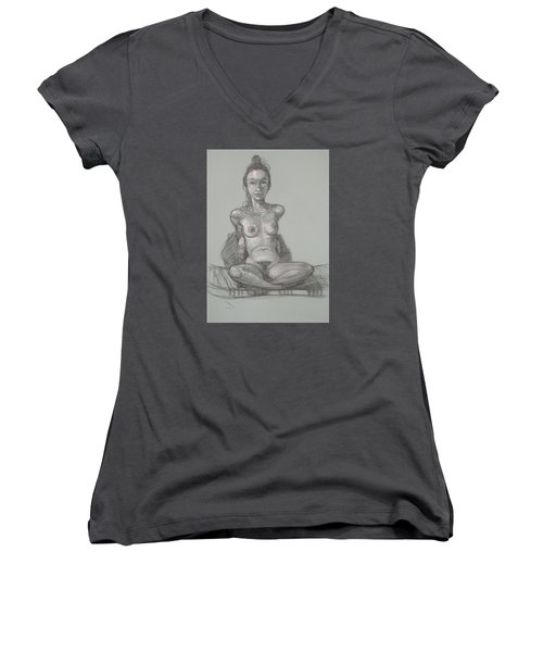 Women's V-Neck T-Shirt (Junior Cut) featuring the drawing Nina Seated by Donelli  DiMaria
