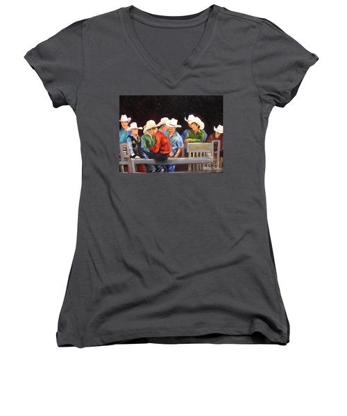 Nine Cowboys On A Fence Women's V-Neck T-Shirt (Junior Cut)