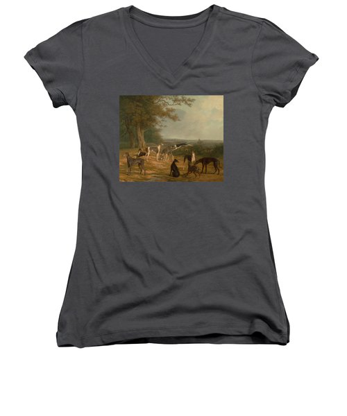 Nine Greyhounds In A Landscape Women's V-Neck