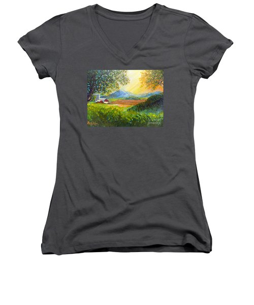 Nixon's Majestic Farm View Women's V-Neck T-Shirt (Junior Cut) by Lee Nixon