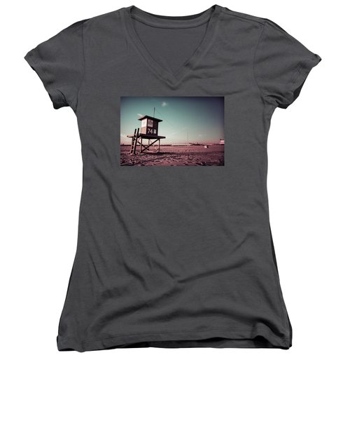 Women's V-Neck T-Shirt (Junior Cut) featuring the photograph No Lifeguard On Duty by Joseph Westrupp
