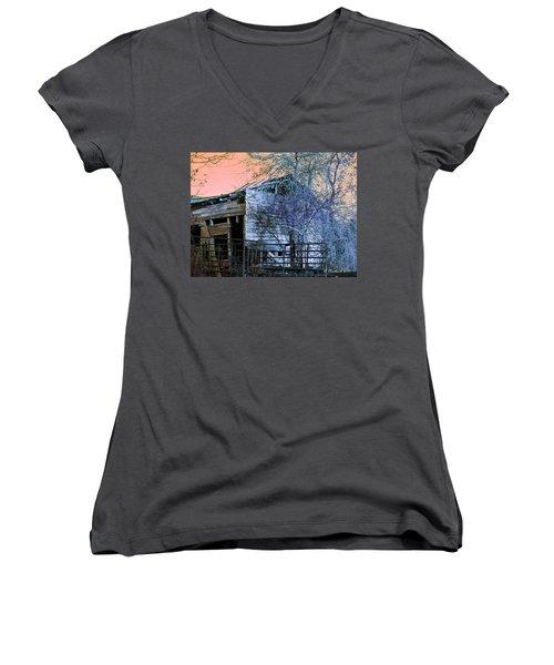 Women's V-Neck T-Shirt (Junior Cut) featuring the photograph No Ordinary Barn by Betty Northcutt