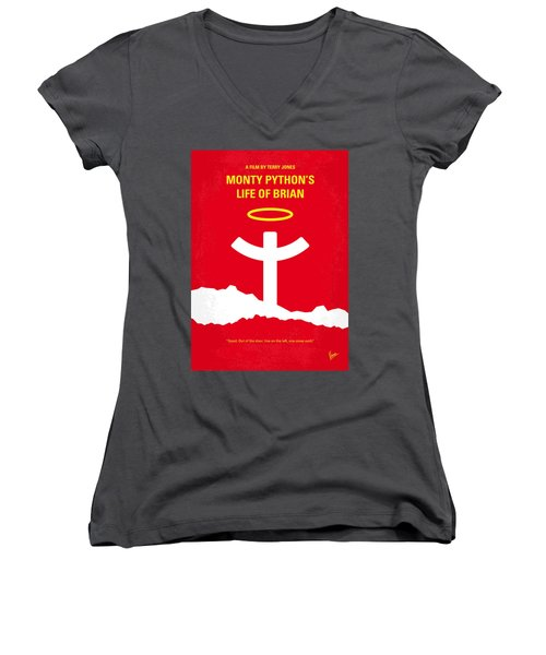 No182 My Monty Python Life Of Brian Minimal Movie Poster Women's V-Neck T-Shirt (Junior Cut) by Chungkong Art
