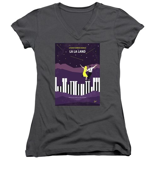 Women's V-Neck T-Shirt (Junior Cut) featuring the digital art No756 My La La Land Minimal Movie Poster by Chungkong Art