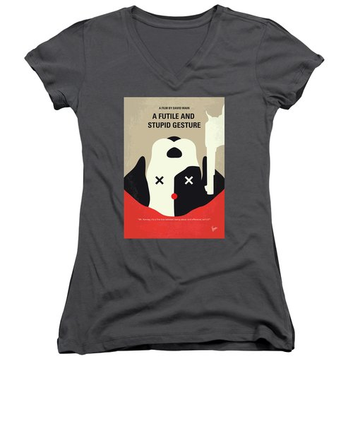 No893 My A Futile And Stupid Gesture Minimal Movie Poster Women's V-Neck (Athletic Fit)