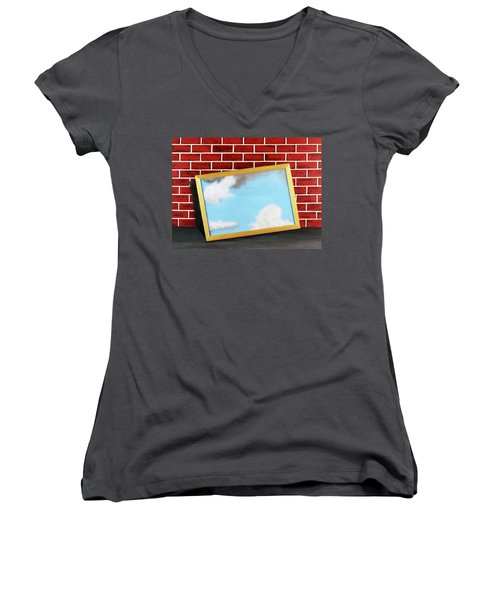 Women's V-Neck T-Shirt (Junior Cut) featuring the painting Nobody Noticed Part II by Thomas Blood