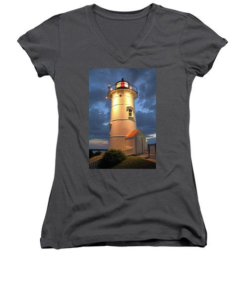 Nobska Point Lighthouse Women's V-Neck T-Shirt (Junior Cut) by Roupen  Baker