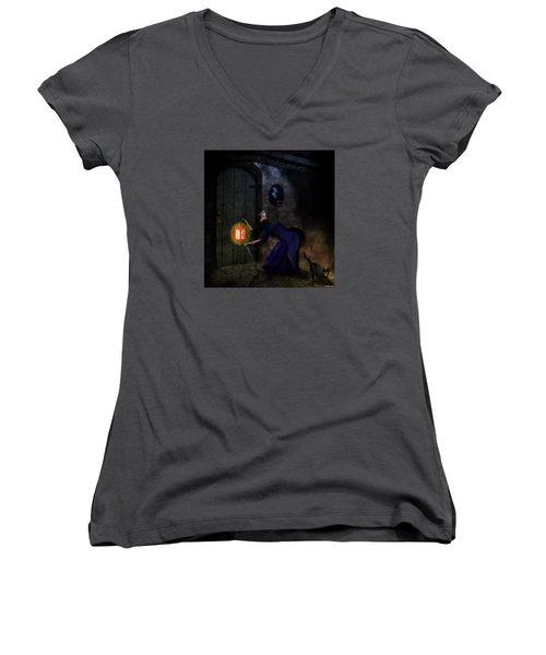 Noise In The Night Women's V-Neck T-Shirt (Junior Cut) by Ken Morris